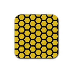 Hexagon2 Black Marble & Yellow Colored Pencil Rubber Square Coaster (4 Pack)  by trendistuff