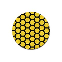 Hexagon2 Black Marble & Yellow Colored Pencil Magnet 3  (round) by trendistuff
