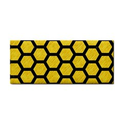 Hexagon2 Black Marble & Yellow Colored Pencil Cosmetic Storage Cases by trendistuff