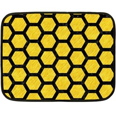 Hexagon2 Black Marble & Yellow Colored Pencil Fleece Blanket (mini) by trendistuff