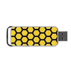 Hexagon2 Black Marble & Yellow Colored Pencil Portable Usb Flash (one Side) by trendistuff