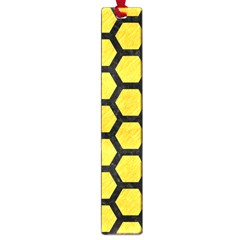 Hexagon2 Black Marble & Yellow Colored Pencil Large Book Marks by trendistuff