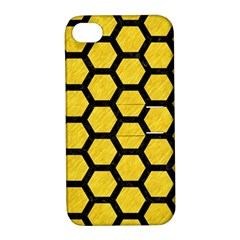 Hexagon2 Black Marble & Yellow Colored Pencil Apple Iphone 4/4s Hardshell Case With Stand by trendistuff