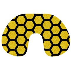 Hexagon2 Black Marble & Yellow Colored Pencil Travel Neck Pillows by trendistuff