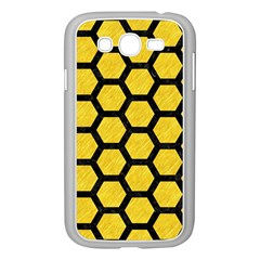 Hexagon2 Black Marble & Yellow Colored Pencil Samsung Galaxy Grand Duos I9082 Case (white) by trendistuff