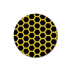 Hexagon2 Black Marble & Yellow Colored Pencil (r) Rubber Round Coaster (4 Pack)  by trendistuff