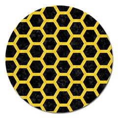 Hexagon2 Black Marble & Yellow Colored Pencil (r) Magnet 5  (round) by trendistuff