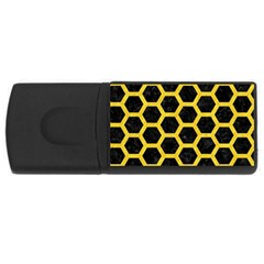 Hexagon2 Black Marble & Yellow Colored Pencil (r) Rectangular Usb Flash Drive by trendistuff