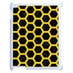 Hexagon2 Black Marble & Yellow Colored Pencil (r) Apple Ipad 2 Case (white) by trendistuff