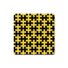 Puzzle1 Black Marble & Yellow Colored Pencil Square Magnet by trendistuff