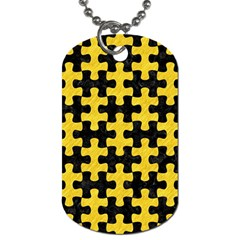 Puzzle1 Black Marble & Yellow Colored Pencil Dog Tag (one Side)
