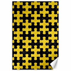 Puzzle1 Black Marble & Yellow Colored Pencil Canvas 20  X 30   by trendistuff