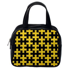 Puzzle1 Black Marble & Yellow Colored Pencil Classic Handbags (one Side) by trendistuff