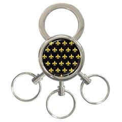 Royal1 Black Marble & Yellow Colored Pencil 3 Ring Key Chains by trendistuff