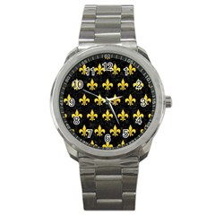 Royal1 Black Marble & Yellow Colored Pencil Sport Metal Watch by trendistuff