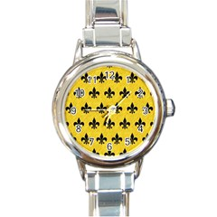 Royal1 Black Marble & Yellow Colored Pencil (r) Round Italian Charm Watch by trendistuff
