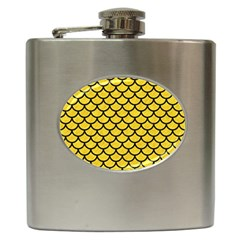 Scales1 Black Marble & Yellow Colored Pencil Hip Flask (6 Oz) by trendistuff