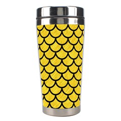 Scales1 Black Marble & Yellow Colored Pencil Stainless Steel Travel Tumblers by trendistuff