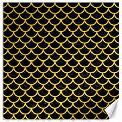 Scales1 Black Marble & Yellow Colored Pencil (r) Canvas 16  X 16