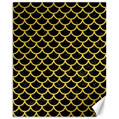 Scales1 Black Marble & Yellow Colored Pencil (r) Canvas 11  X 14   by trendistuff