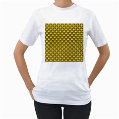 Scales2 Black Marble & Yellow Colored Pencil Women s T Shirt (white) (two Sided)