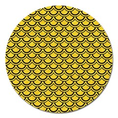 Scales2 Black Marble & Yellow Colored Pencil Magnet 5  (round) by trendistuff