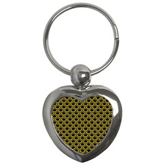 Scales2 Black Marble & Yellow Colored Pencil (r) Key Chains (heart)  by trendistuff