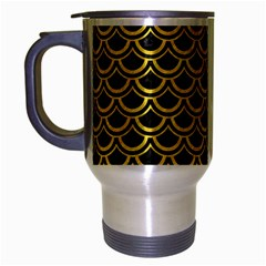 Scales2 Black Marble & Yellow Colored Pencil (r) Travel Mug (silver Gray) by trendistuff