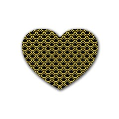 Scales2 Black Marble & Yellow Colored Pencil (r) Heart Coaster (4 Pack)  by trendistuff