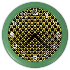 Scales2 Black Marble & Yellow Colored Pencil (r) Color Wall Clocks