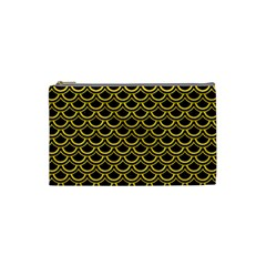 Scales2 Black Marble & Yellow Colored Pencil (r) Cosmetic Bag (small)  by trendistuff
