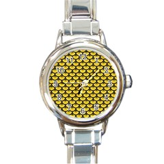 Scales3 Black Marble & Yellow Colored Pencil Round Italian Charm Watch by trendistuff