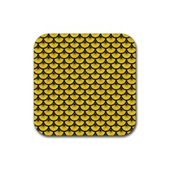 Scales3 Black Marble & Yellow Colored Pencil Rubber Square Coaster (4 Pack)  by trendistuff
