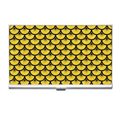 Scales3 Black Marble & Yellow Colored Pencil Business Card Holders by trendistuff