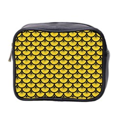 Scales3 Black Marble & Yellow Colored Pencil Mini Toiletries Bag 2 Side by trendistuff