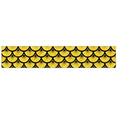 Scales3 Black Marble & Yellow Colored Pencil Large Flano Scarf