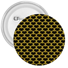 Scales3 Black Marble & Yellow Colored Pencil (r) 3  Buttons by trendistuff