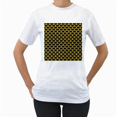 Scales3 Black Marble & Yellow Colored Pencil (r) Women s T Shirt (white) (two Sided)
