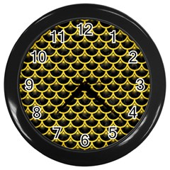 Scales3 Black Marble & Yellow Colored Pencil (r) Wall Clocks (black)