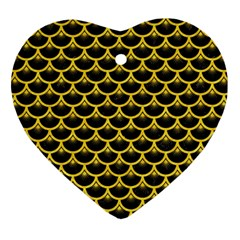 Scales3 Black Marble & Yellow Colored Pencil (r) Heart Ornament (two Sides) by trendistuff