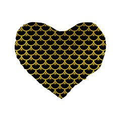 Scales3 Black Marble & Yellow Colored Pencil (r) Standard 16  Premium Heart Shape Cushions by trendistuff