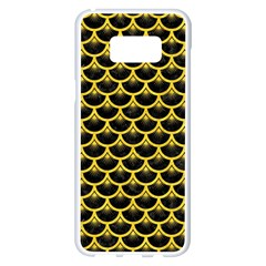 Scales3 Black Marble & Yellow Colored Pencil (r) Samsung Galaxy S8 Plus White Seamless Case by trendistuff