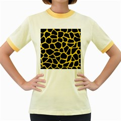 Skin1 Black Marble & Yellow Colored Pencil Women s Fitted Ringer T Shirts