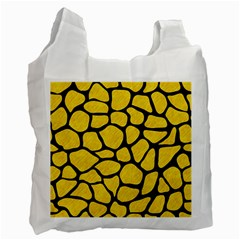 Skin1 Black Marble & Yellow Colored Pencil (r) Recycle Bag (two Side)  by trendistuff