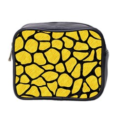 Skin1 Black Marble & Yellow Colored Pencil (r) Mini Toiletries Bag 2 Side by trendistuff