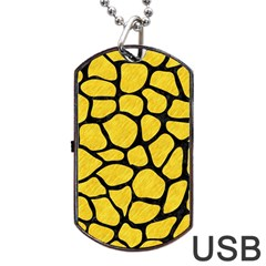 Skin1 Black Marble & Yellow Colored Pencil (r) Dog Tag Usb Flash (two Sides) by trendistuff