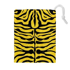 Skin2 Black Marble & Yellow Colored Pencil Drawstring Pouches (extra Large) by trendistuff