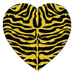 Skin2 Black Marble & Yellow Colored Pencil (r) Jigsaw Puzzle (heart)