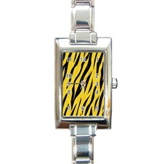 Skin3 Black Marble & Yellow Colored Pencil Rectangle Italian Charm Watch by trendistuff