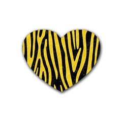 Skin4 Black Marble & Yellow Colored Pencil Heart Coaster (4 Pack)